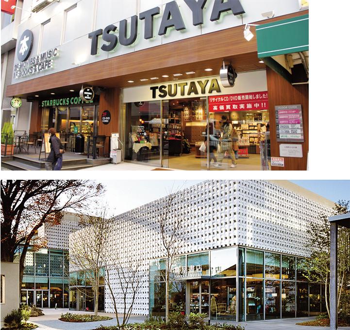 오사카 히라가타 역 앞에 위치한 츠타야 본점(위)과 티사이트 다이칸야마점(아래).